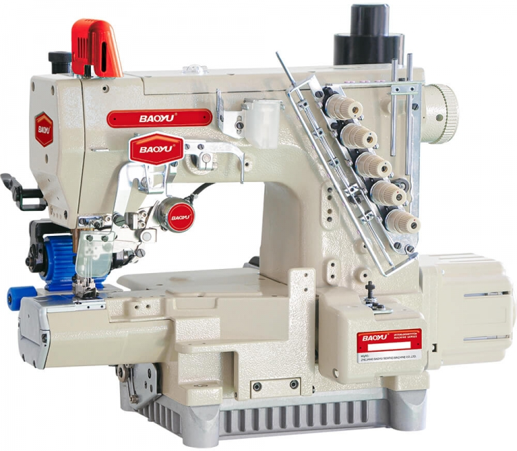 Baoyu BML-787EWT/EST/RP | Industrial interlock sewing machine with cylindrical bed and rear roller